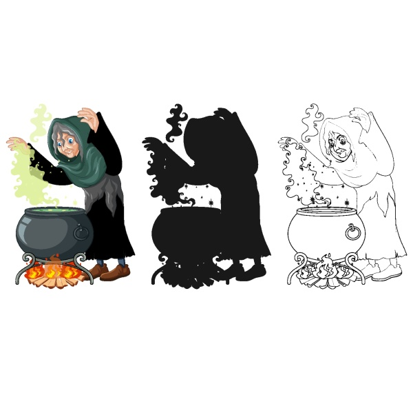 witch with black magic pot in