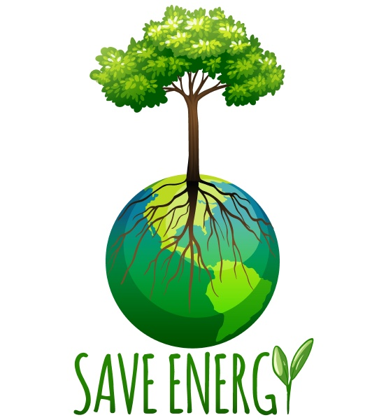 save energy theme with earth and