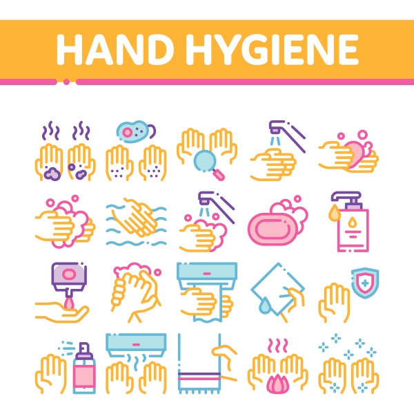 hand healthy hygiene collection icons set