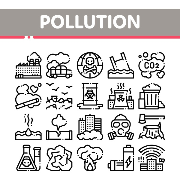 pollution of nature vector thin line