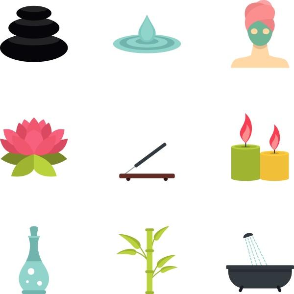 wellness elements icons set flat