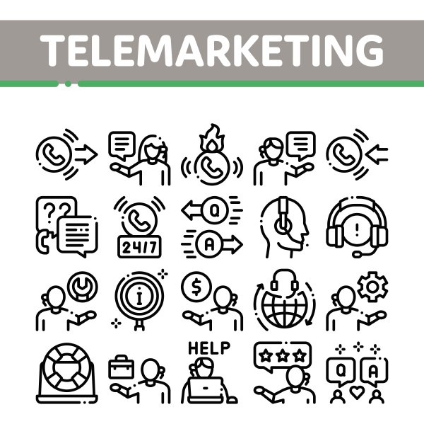 telemarketing sale collection icons set vector