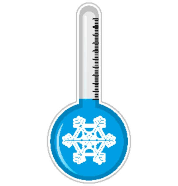 thermometer with snowflake symbol