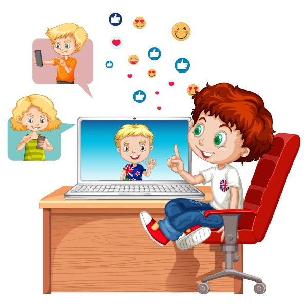 children with social media elements on
