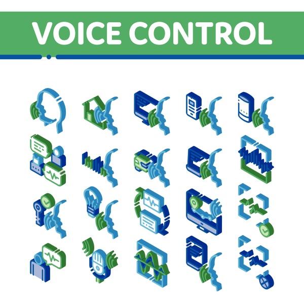voice control isometric elements icons set