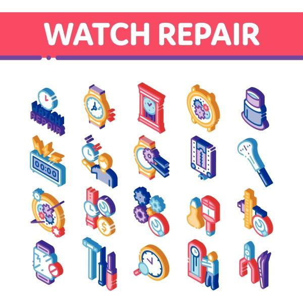 watch repair service isometric icons set