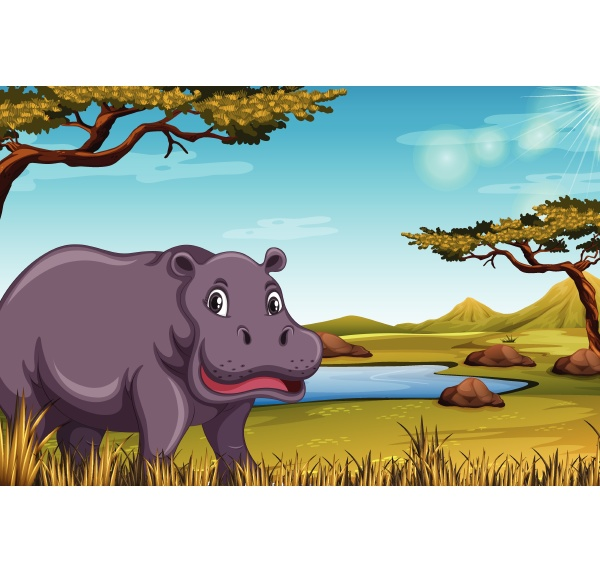 hippopotamus in the savanna scene