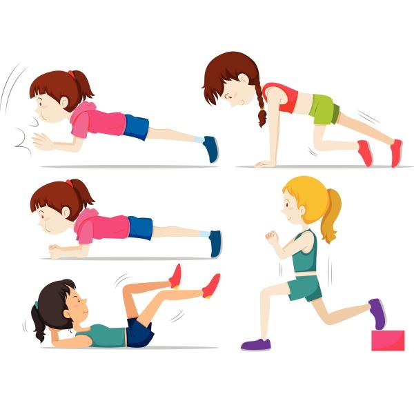 set of girls doing fitness exercise