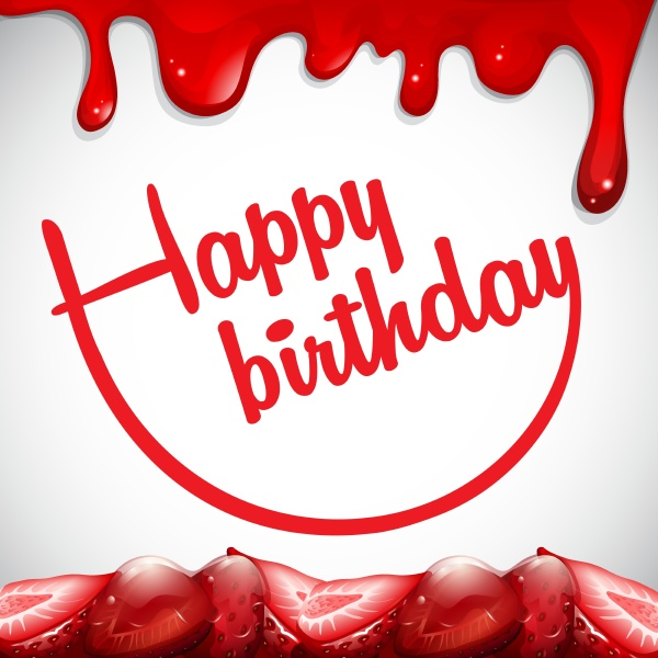 birthday card template with strawberry jam