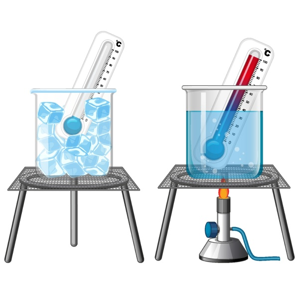 science experiment with thermometers in ice