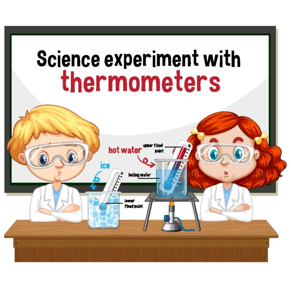 scientist explaining science experiment with thermometers