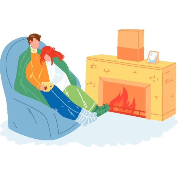winter rest couple together near fireplace