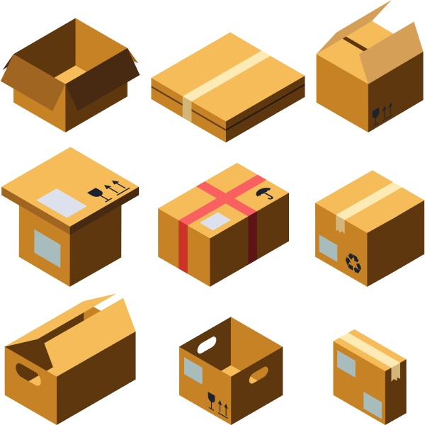 cardboard box different size collection set