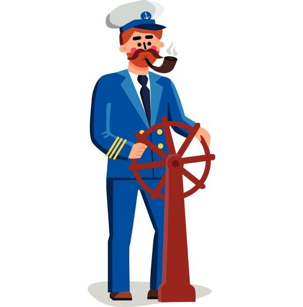 sailor captain person holding ship wheel