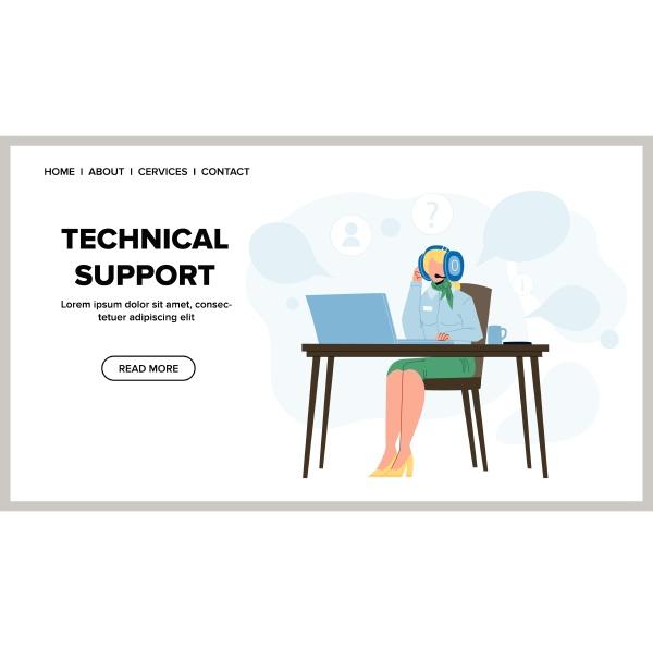technical support call center operator vector