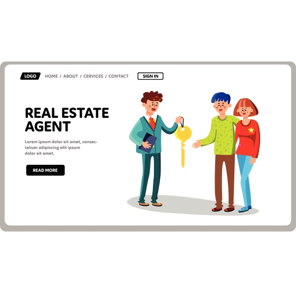 real estate agent give house key