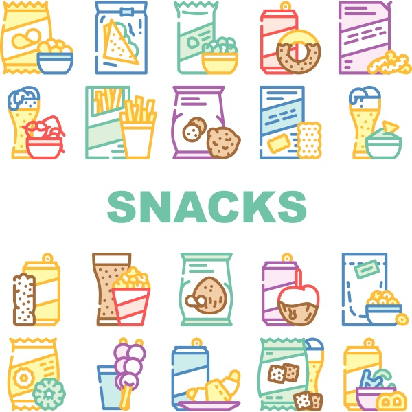 snacks food and drink collection icons