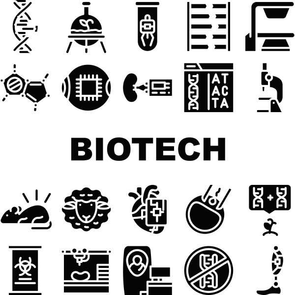 biotech technology collection icons set vector
