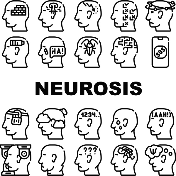 neurosis brain problem collection icons set