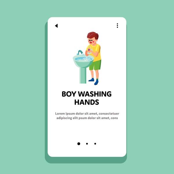 boy washing hands in sink hygiene