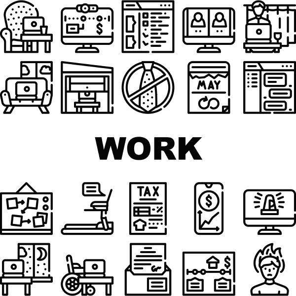 remote work from home collection icons