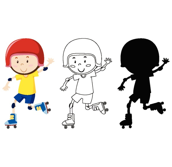 boy playing roller skate in colour