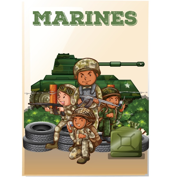 marines fully armed and tank