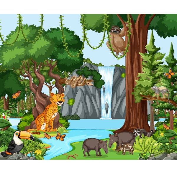 rainforest scene with wild animals