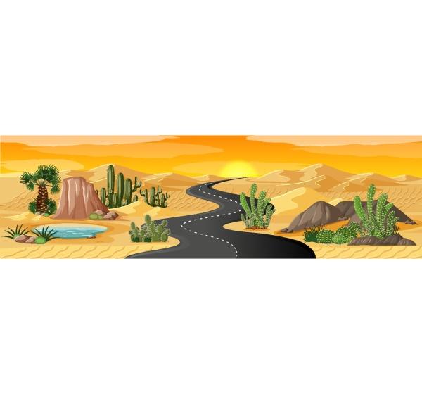 desert oasis with long road landscape