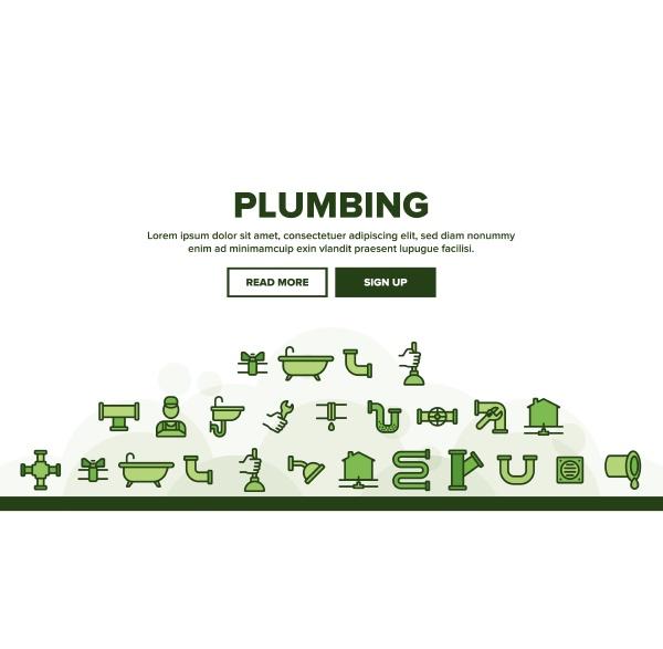 plumbing landing header vector