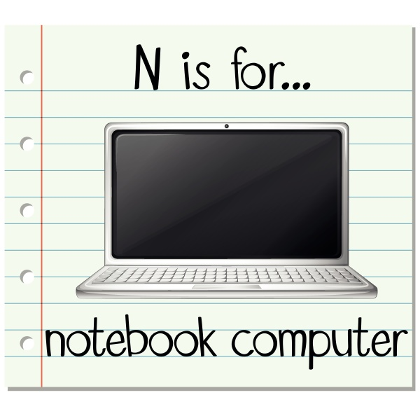 flashcard letter n is for notebook