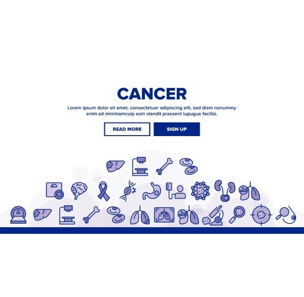 cancer anatomy disease landing header vector