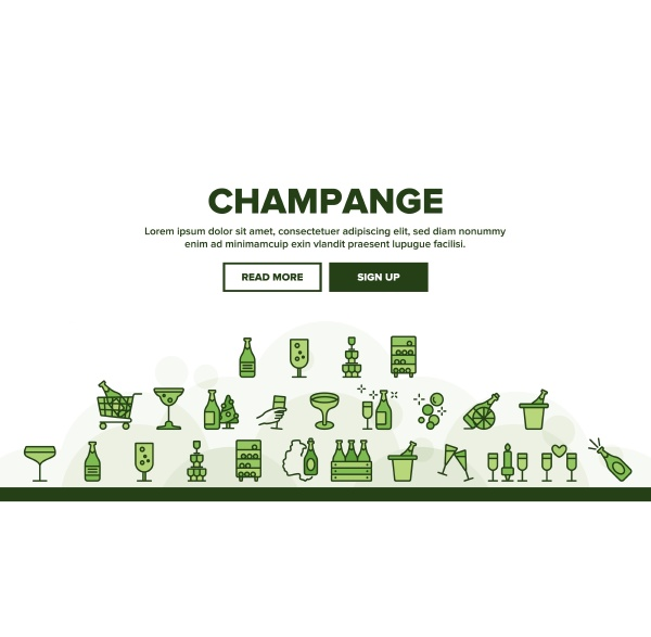 champagne beverage collection icons set vector