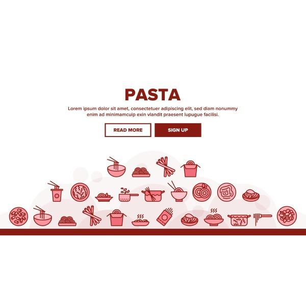 pasta dish gastronomy landing header vector