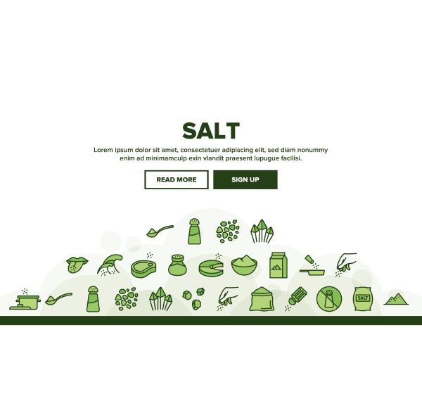 salt flavoring cooking landing header vector