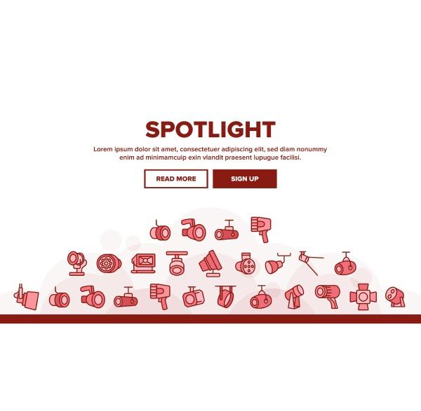 spotlight lamp tool landing header vector