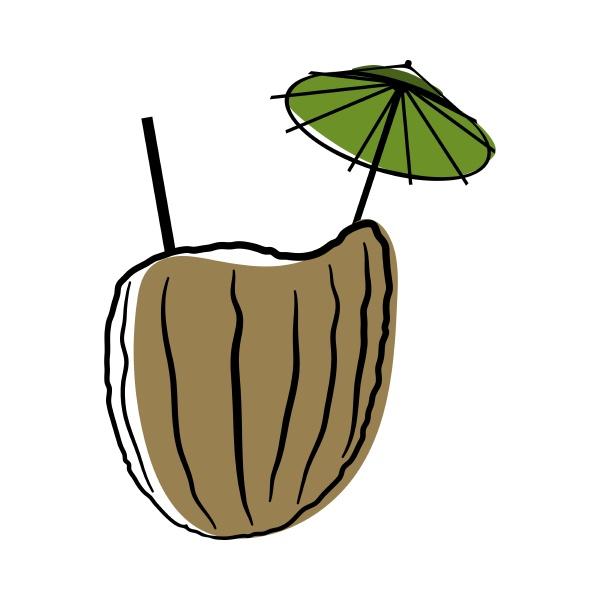 doodle sketch coconut cocktail