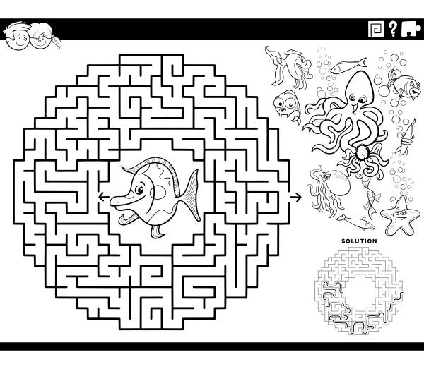 maze game with cartoon fish and