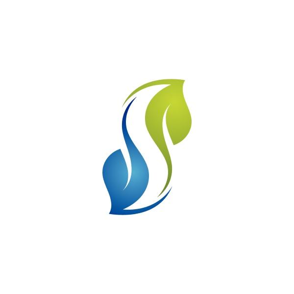 s leaf nature logo and symbol