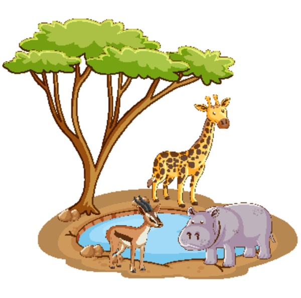 scene with wild animals by the