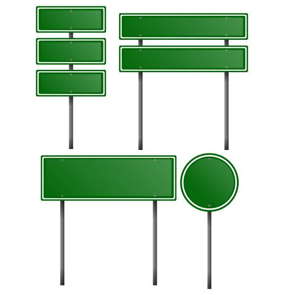 green signs on metal posts