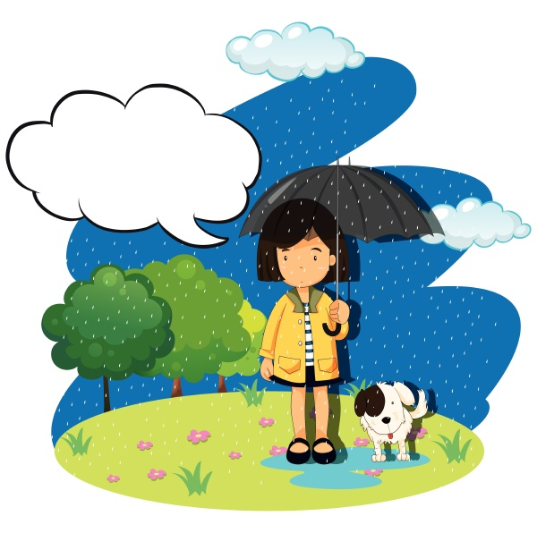 girl and dog in the rain
