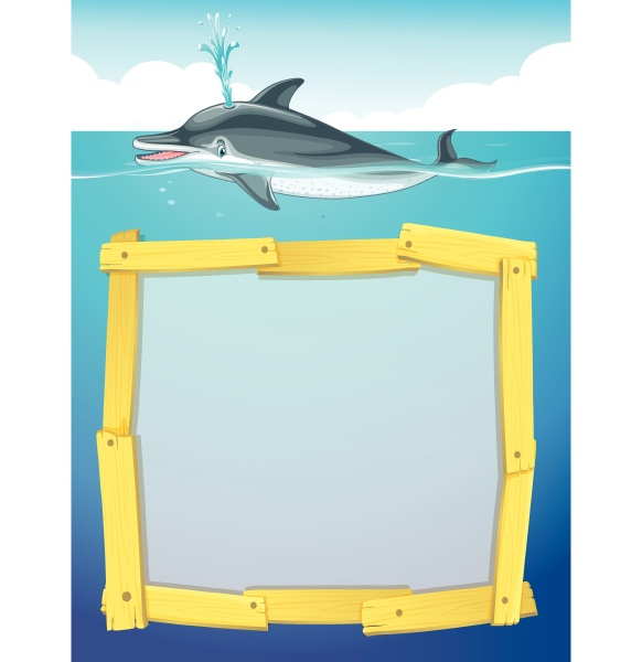 frame design with dolphin swimming