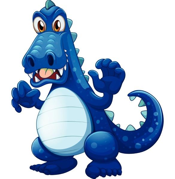 a scary blue crocodile