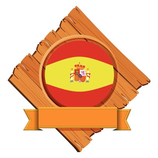 spain flag on wooden board