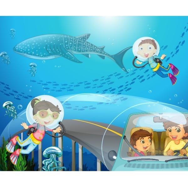 boy and girl scuba diving under