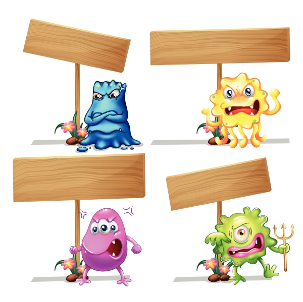 monsters holding wooden signs