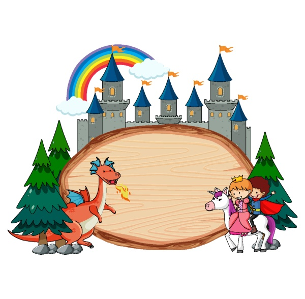 blank wooden banner with fairy tale