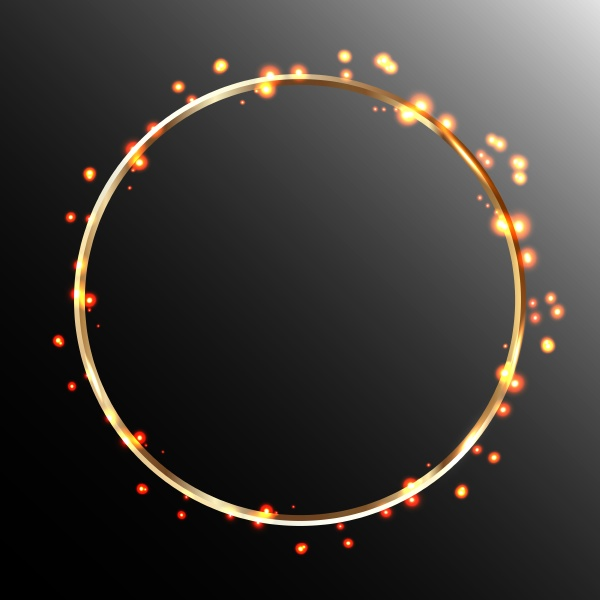 gold round frame glowing and flaming