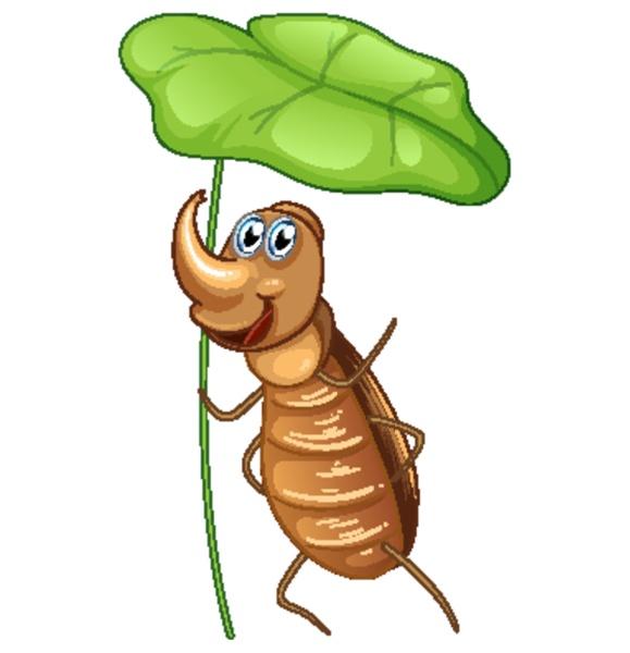 happy beetle holding big leaf